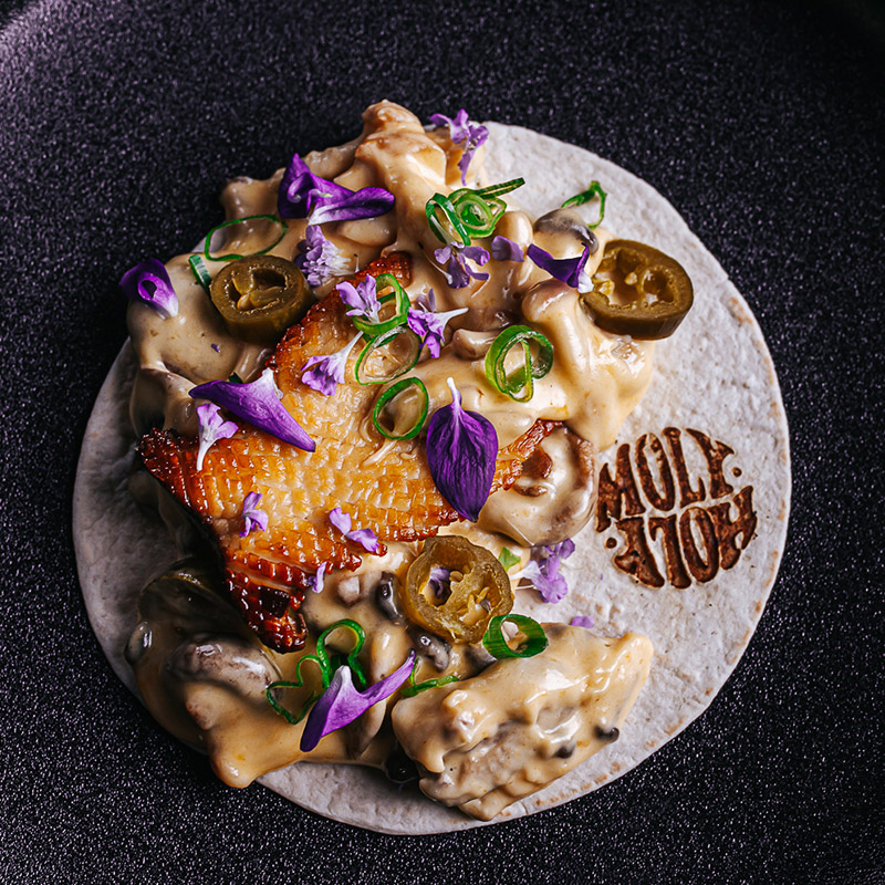 Taco met paddenstoelen kaas en jalapenos - Funghi Town